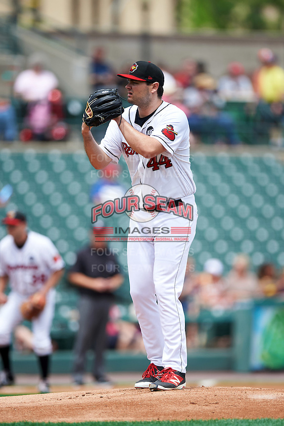 Rochester Red Wings starting pitcher Jason Wheeler (44) gets ready to deliver a pitch during a game against the Columbus Clippers on June 16, 2016 at Frontier Field in Rochester, New York.  Rochester defeated Columbus 6-2.  (Mike Janes/Four Seam Images)