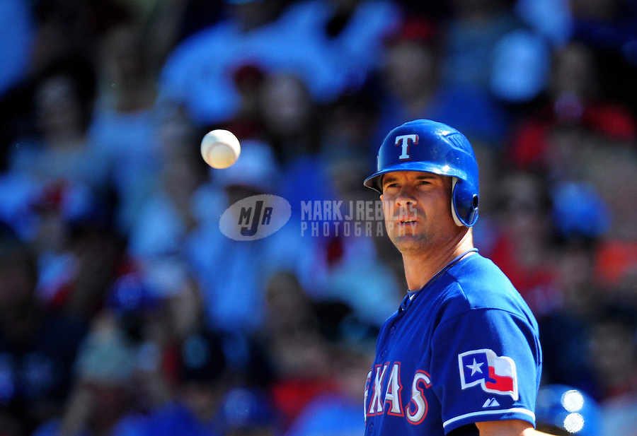 Mar. 15, 2012; Surprise, AZ, USA; Texas Rangers batter Michael Young in the third inning against the Oakland Athletics at Surprise Stadium.  Mandatory Credit: Mark J. Rebilas-