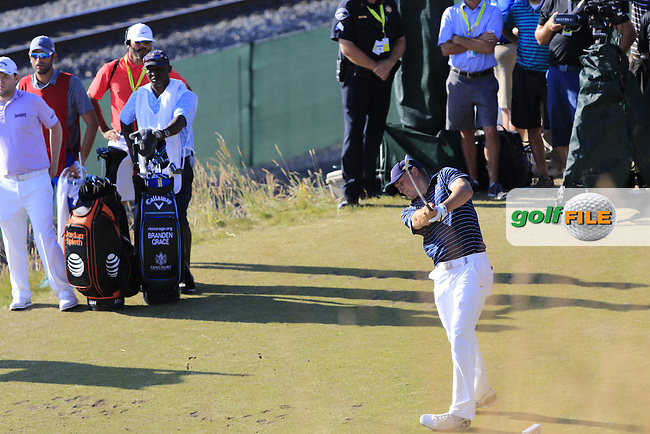 Jordan Speith (USA) tees off the 17th tee during Sunday's Final Round of the 2015 U.S. Open 115th National Championship held at Chambers Bay, Seattle, Washington, USA. 6/22/2015.<br /> Picture: Golffile | Eoin Clarke<br /> <br /> <br /> <br /> <br /> All photo usage must carry mandatory copyright credit (&copy; Golffile | Eoin Clarke)