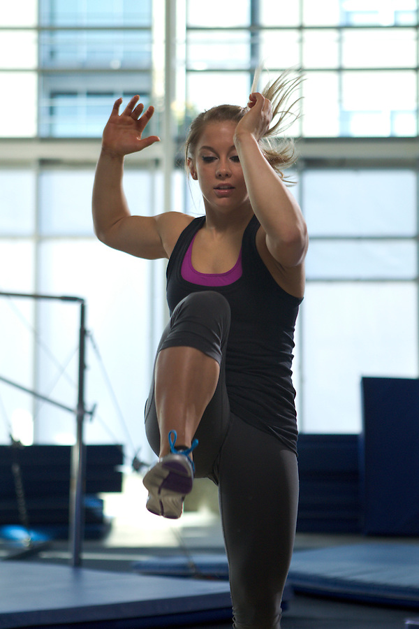 American champion gymnast Shawn Johnson in Portland at Nike Shoot.