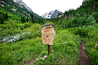 A view of the Maroon Bells from the Maroon Lake Scenic Trail in Aspen, Colorado, July 12, 2011...Photo by Matt Nager