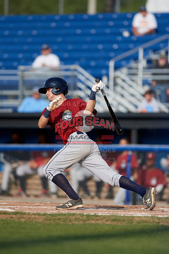 Mahoning Valley Scrappers second baseman Ernie Clement (24) follows through on a swing during the first game of a doubleheader against the Batavia Muckdogs on August 28, 2017 at Dwyer Stadium in Batavia, New York.  Mahoning Valley defeated Batavia 6-3.  (Mike Janes/Four Seam Images)