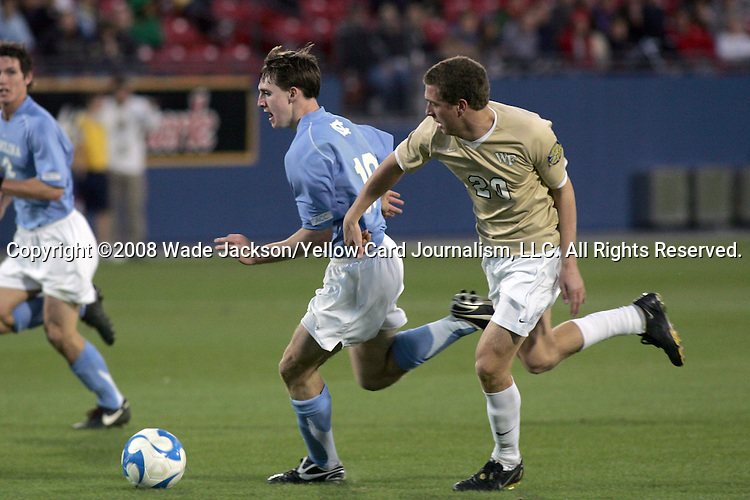 12 December 2008: Billy Schuler (10) of North Carolina moves the ball past Danny Wenzel (20) of Wake Forest.  The Wake Forest University Demon Deacons were defeated by the University of North Carolina Tar Heels 0-1 at Pizza Hut Park in Frisco, TX in an NCAA Division I Men's College Cup semifinal game.