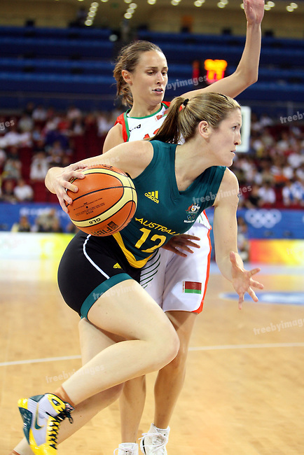 Belinda Snell of Australia in action on Day 1 of the Womens Basketball. Australia deafeated Belarus 83-64 at the .Olympic Basketball Gymnasium 9-8-08 .Photo: Grant Treeby/WSP