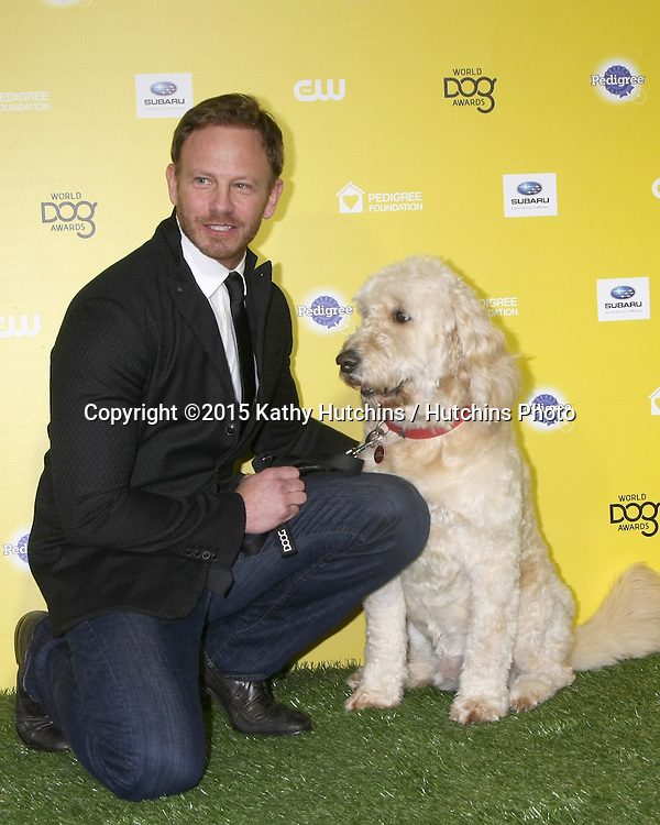 "LOS ANGELES - JAN 10:  Ian Ziering, Sparky at the CW Network presents ""World Dog Awards"" at a Barker Hanger on January 10, 2015 in Santa Monica, CA"