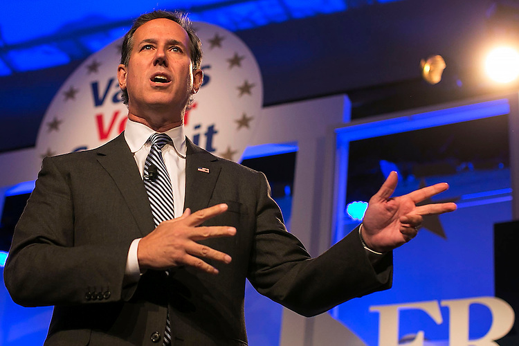 UNITED STATES - September 25: Republican presidential candidate Rick Santorum, speaks at the Values Voters Summit at the Omni Shoreham hotel in Washington D.C., Friday, September 25, 2015. (Photo By Al Drago/CQ Roll Call)