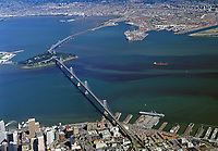 aerial photograph of a containership passing through a phytoplancton bloom at Yerba Buena Island, San Francisco Bay, California, March 6, 1998