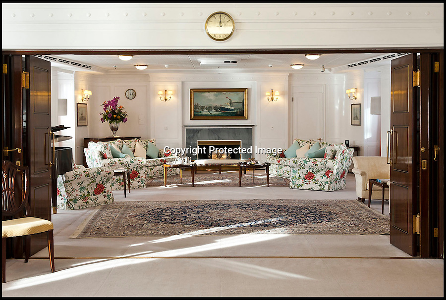 BNPS.co.uk (01202 558833)<br /> Pic: MarcMiller/RYBritannia/BNPS<br /> <br /> The main Drawing Room.<br /> <br /> Sir Hugh Casson's original design sketches for the Royal Yacht have come to light - after his daughter Carola presented colour slides to the Trust in Leith, Edinburgh. <br /> <br /> The sketches of the yacht's state rooms, the vision of renowned architect Sir Hugh Casson, reveal the Queen's love of simple yet modern design.<br /> <br /> Britannia was launched in 1953, two months prior to the Queen's coronation, and clocked up more than one million miles up until 1997 when it was decomissioned.<br /> <br /> Sir Hugh was commissioned to put forward ideas after the Queen and the Duke of Edinburgh shunned original designs put forward by the yacht's builders.<br /> <br /> Far from the majesty of their Victorian palaces, the Royal couple wanted the yacht to be a contemporary 'home from home'.<br /> <br /> Britannia Trust head Bob Downey said 'It is a testament to Sir Hugh's skills that the Queen never updated his stylish original designs.'