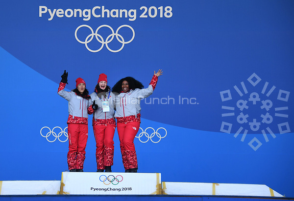 Helpers rehearsing onstage for the medal awards ceremony in Pyeongchang, South Korea, 07 February 2018. The Pyeongchang 2018 Winter Olympics take place between 09 and 25 February. Photo: Tobias Hase/dpa /MediaPunch ***FOR USA ONLY***