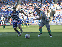Reading's Andy Yiadom (left) battles for possession with Blackburn Rovers' Adam Armstrong (right) <br /> <br /> Photographer David Horton/CameraSport<br /> <br /> The EFL Sky Bet Championship - Reading v Blackburn Rovers - Saturday 21st September 2019 - Madejski Stadium - Reading<br /> <br /> World Copyright © 2019 CameraSport. All rights reserved. 43 Linden Ave. Countesthorpe. Leicester. England. LE8 5PG - Tel: +44 (0) 116 277 4147 - admin@camerasport.com - www.camerasport.com
