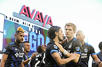 San Jose, CA - Saturday May 06, 2017: Jahmir Hyka celebrates scoring during a Major League Soccer (MLS) match between the San Jose Earthquakes and the Portland Timbers at Avaya Stadium.
