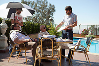 Argo (2012)<br /> Behind the scenes photo of Ben Affleck, John Goodman &amp; Alan Arkin<br /> *Filmstill - Editorial Use Only*<br /> CAP/MFS<br /> Image supplied by Capital Pictures