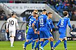 18.01.2020, PreZero-Arena, Sinsheim, GER, 1. FBL, TSG 1899 Hoffenheim vs. Eintracht Frankfurt, <br /> <br /> DFL REGULATIONS PROHIBIT ANY USE OF PHOTOGRAPHS AS IMAGE SEQUENCES AND/OR QUASI-VIDEO.<br /> <br /> im Bild: Jubel ueber das Tor zum 1:1 durch Konstantinos Stafylidis (TSG Hoffenheim #5), in der Mitte am Boden<br /> <br /> Foto © nordphoto / Fabisch