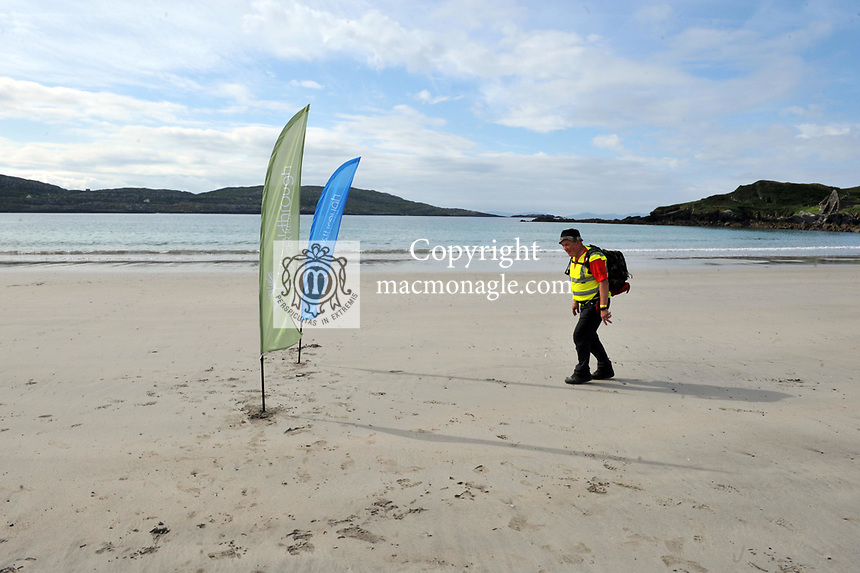 8-7-2017: Pat Murray, lead walker pictured walking on Derrynane Strand in County Kerry on Saturday in the Kerry Way Walk in aid of Breakthrough Cancer Research. The three day charity walk around South Kerry attracts walkers from all over Ireland and has raised over &euro;670,000 in its 14 year history.<br /> Photo Don MacMonagle<br /> <br /> Repro free photo breakthrough cancer research