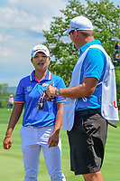 Haru Nomura (JPN) talks to her caddie after sinking her putt on 1 during Saturday's third round of the 72nd U.S. Women's Open Championship, at Trump National Golf Club, Bedminster, New Jersey. 7/15/2017.<br /> Picture: Golffile | Ken Murray<br /> <br /> <br /> All photo usage must carry mandatory copyright credit (&copy; Golffile | Ken Murray)