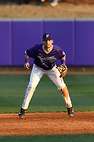 Third baseman Jake Crawford (19) of the Furman Paladins plays defense in game two of a doubleheader against the Harvard Crimson on Friday, March 16, 2018, at Latham Baseball Stadium on the Furman University campus in Greenville, South Carolina. Furman won, 7-6. (Tom Priddy/Four Seam Images)