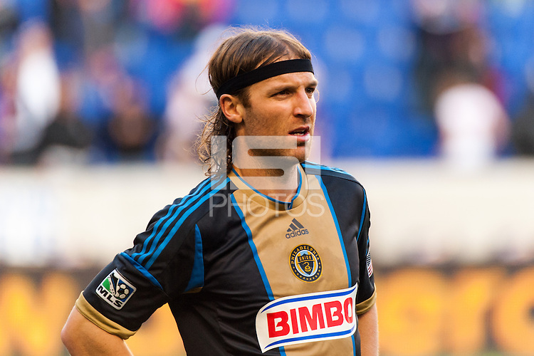 Jeff Parke (31) of the Philadelphia Union. The New York Red Bulls defeated the Philadelphia Union 2-1 during a Major League Soccer (MLS) match at Red Bull Arena in Harrison, NJ, on March 30, 2013.