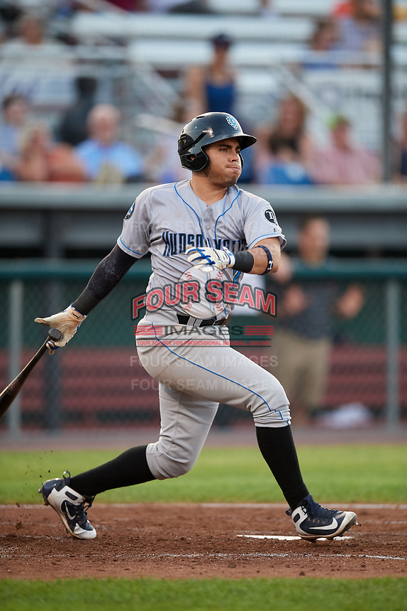 Hudson Valley Renegades second baseman Jonathan Aranda (2) follows through on a swing during a game against the Auburn Doubledays on September 5, 2018 at Falcon Park in Auburn, New York.  Hudson Valley defeated Auburn 11-5.  (Mike Janes/Four Seam Images)