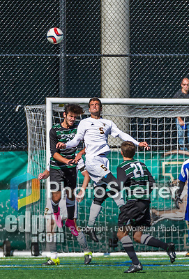 3 October 2015: Binghamton University Bearcat Forward Nikos Psarras, a Freshman from Malesina, Greece (left), battles University of Vermont Catamount Midfielder Charlie DeFeo (5), a Senior from Newfields, NH, during game action at Virtue Field in Burlington, Vermont. The Bearcats held on to defeat the Catamounts 2-1 in America East conference play. Mandatory Credit: Ed Wolfstein Photo *** RAW (NEF) Image File Available ***