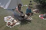 Living History event, Sutton Hoo, Suffolk, England. Romano British family