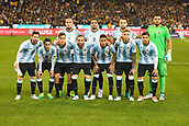 June 9th 2017, Melbourne Cricket Ground, Melbourne, Australia; International Football Friendly; Brazil versus Argentina; Players from Argentina pose for a photo ahead of the game