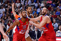 Real Madrid's Anthony Randolph and CSKA Moscow Cory Higgins and James Augustine during Turkish Airlines Euroleague match between Real Madrid and CSKA Moscow at Wizink Center in Madrid, Spain. January 06, 2017. (ALTERPHOTOS/BorjaB.Hojas)