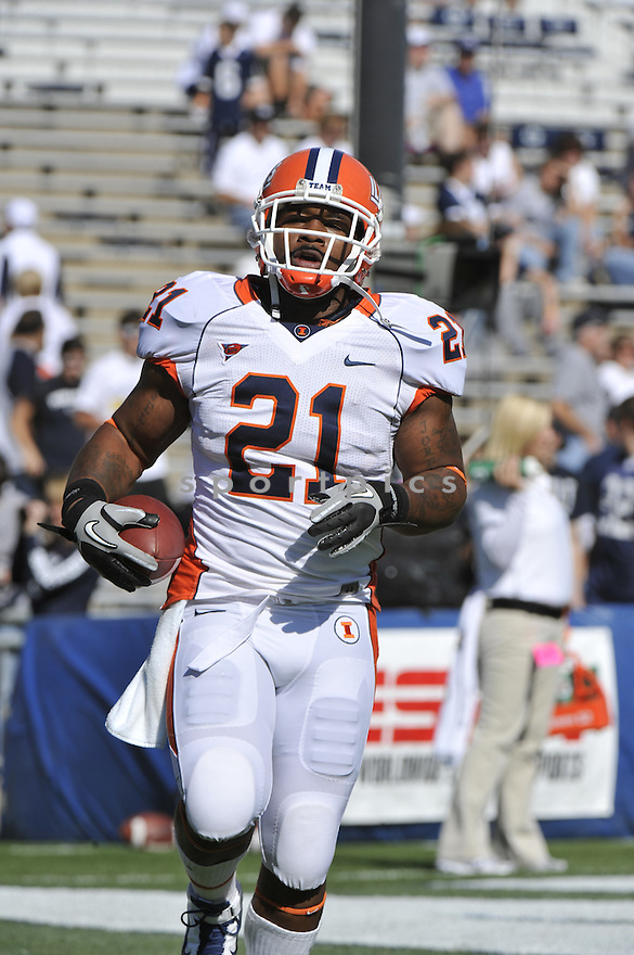 Oct 9 2010; Illinois RB Jason Ford (21) during  game against Penn State.Illinois won 33-13 at  Beaver Stadium State College, PA. Mandatory Credit: Tomasso DeRosa