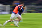 Alejandro Gomez of Atalanta warms up with a team mate during the Serie A match at Giuseppe Meazza, Milan. Picture date: 11th January 2020. Picture credit should read: Jonathan Moscrop/Sportimage