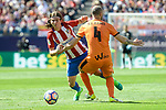 Atletico de Madrid's Filipe Luis and SD Eibar's Ivan Ramis Barrios during Liga Liga match between Atletico de Madrid and SD Eibar at Vicente Calderon Stadium in Madrid, May 06, 2017. Spain.<br /> (ALTERPHOTOS/BorjaB.Hojas)