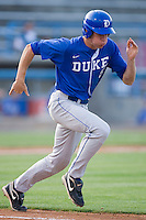 Brian Litwin #5 of the Duke Blue Devils hustles down the first base line against the Wake Forest Demon Deacons at the Wake Forest Baseball Park April 23, 2010, in Winston-Salem, NC.  Photo by Brian Westerholt / Sports On Film