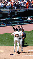 Barry Bonds reacts at home plate after hitting hits career home run 715 to pass Hank Aaron for second place in the all-time home run lead at At&T Park in San Francisco Sunday May 28, 2006. (Alan Greth/Contra Costa Times)