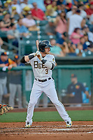 Taylor Ward (3) of the Salt Lake Bees at bat against the Las Vegas Aviators at Smith's Ballpark on July 20, 2019 in Salt Lake City, Utah. The Aviators defeated the Bees 8-5. (Stephen Smith/Four Seam Images)