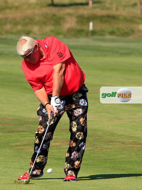 John Daly (USA) on the 18th during Round 2 of the D&amp;D Real Czech Masters 2016 at the Albatross Golf Club, Prague on Friday 19th August 2016.<br /> Picture:  Thos Caffrey / www.golffile.ie<br /> <br /> All photos usage must carry mandatory copyright credit   (&copy; Golffile | Thos Caffrey)