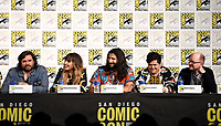 FX FEARLESS FORUM AT SAN DIEGO COMIC-CON© 2019: L-R: Cast Members Matt Berry, Natasia Demetriou, Kayvan Novak, Harvey Guillén, and Mark Proksch during the WHAT WE DO IN THE SHADOWS panel on Saturday, July 20 at SAN DIEGO COMIC-CON© 2019. CR: Frank Micelotta/FX/PictureGroup © 2019 FX Networks