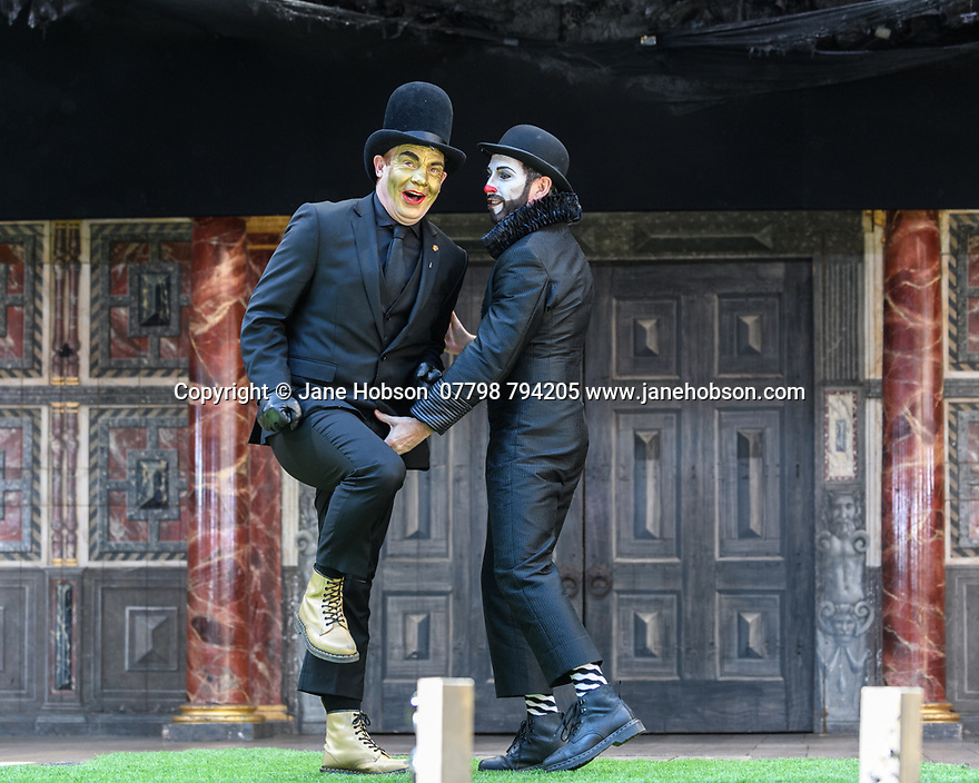"""London, UK. 26.04.17 Shakespeare's Globe presents ROMEO AND JULIET, by WIlliam Shakespeare, directed by Daniel Kramer, as part of Emma Rice's """"Summer of Love"""" season. Picture shows: Tim Chipping (Paris), Gareth Snook (Lord Capulet). © Jane Hobson."""