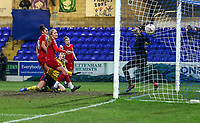 13th February 2020; Deva Stadium, Chester, Cheshire, England; Womens Super League Football, Liverpool Womens versus Arsenal Womens; Vivianne Miedema of Arsenal Women gets above the Liverpool defence to score her second and Arsenal's third to make the score 3-2 in the 78th minute