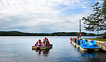 Middlebury, CT- 10 August 2015-081015CM04- Family, including Mary Beth McAllister and her children, Michael, 23 months,  Emmy, 4 and Johnny 5, all from  <br /> Severna Park, MD, along with Kathy Miller of Middletown, CT, take a paddle boat ride at Lake Quassepaug Amusement Park in Middlebury on Monday afternoon.  According to the National Weather Service, Tuesday's weather is expected to be a bit different than Monday, with the likely hood of rain and possibly a thunderstorm.   Highs are expected to be near 80.  Christopher Massa Republican-American