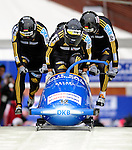 22 November 2009:  Thomas Florschuetz, piloting the Germany 1 bobsled, leads his 4-man team to an 8th place finish at the FIBT World Cup competition, in Lake Placid, New York, USA. Mandatory Credit: Ed Wolfstein Photo