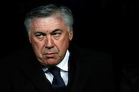 Carlo Ancelotti of Real Madrid during La Liga match between Real Madrid and Sevilla at Santiago Bernabeu Stadium in Madrid, Spain. February 04, 2015. (ALTERPHOTOS/Caro Marin) /NORTEphoto.com