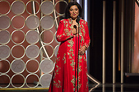 HFPA President Meher Tatna on stage at the 75th Annual Golden Globe Awards at the Beverly Hilton in Beverly Hills, CA on Sunday, January 7, 2018.<br /> *Editorial Use Only*<br /> CAP/PLF/HFPA<br /> &copy;HFPA/PLF/Capital Pictures