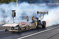May 31, 2013; Englishtown, NJ, USA: NHRA top fuel dragster driver Khalid Albalooshi during qualifying for the Summer Nationals at Raceway Park. Mandatory Credit: Mark J. Rebilas-