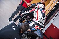 Pilos and his mechanics in pit line at pre season winter test IRTA Moto3 & Moto2 at Ricardo Tormo circuit in Valencia (Spain), 11-12-13 February 2014