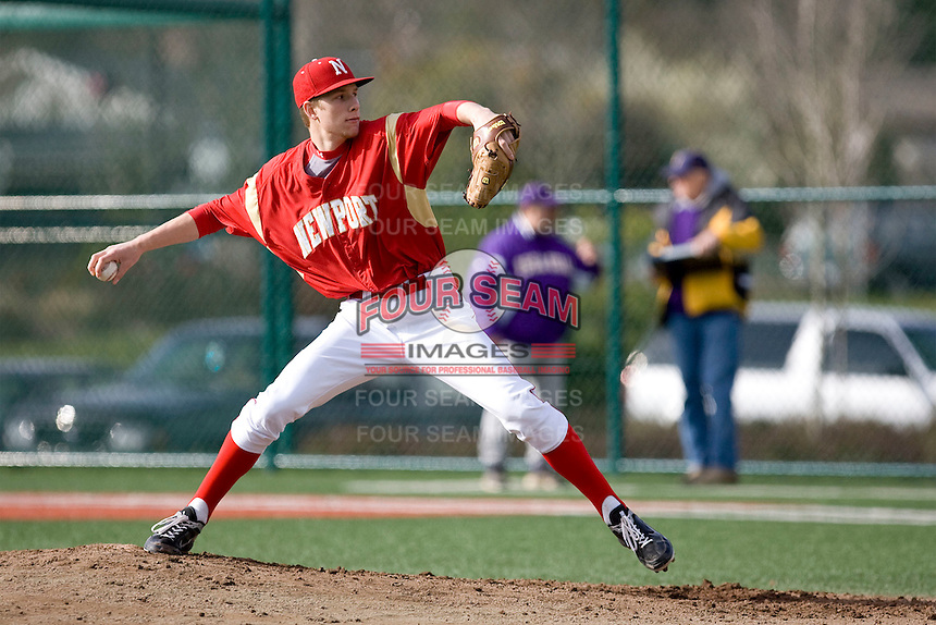March 22, 2011: Newport High School pitcher Cole Wiper #24 delivers a pitch during a game against Issaquah High School at Newport High School in Bellevue, Washington.  Wiper struck out eight and did not allow a run in 5 1/3 innings.  Photo by: Ronnie Allen/Four Seam Images
