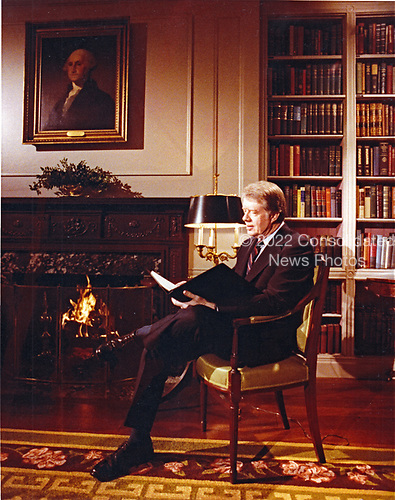 United States President Jimmy Carter looks over his speech prior to delivering an address to the nation on the Panama Canal treaties in the White House Library in Washington, DC on February 1, 1978. <br /> Credit: White House via CNP