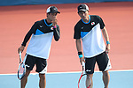 (L-R)  Taimei Marunaka,  Ä/Koichi Nagae (JPN), <br /> AUGUST 27, 2018 - Soft Tennis : <br /> Training session<br /> at Jakabaring Sport Center Tennis Courts <br /> during the 2018 Jakarta Palembang Asian Games <br /> in Palembang, Indonesia. <br /> (Photo by Yohei Osada/AFLO SPORT)
