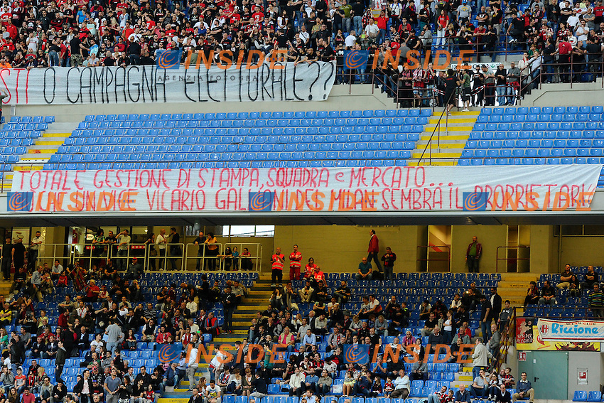 Striscioni di contestazione tifosi Milan. Supporters<br />  protest Milano 24-05-2015 Stadio Giuseppe Meazza - Football Calcio Serie A Milan - Torino. Foto Giuseppe Celeste / Insidefoto