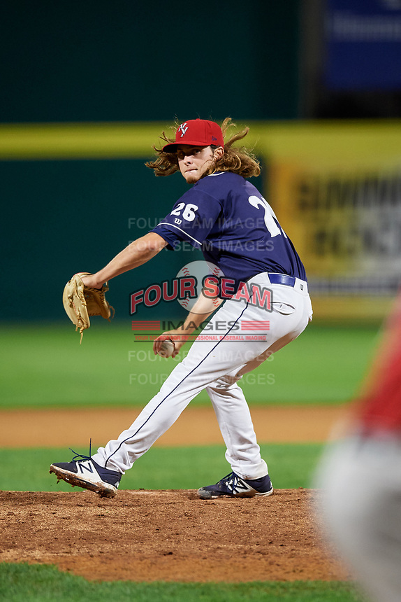 Binghamton Rumble Ponies relief pitcher Matt Blackham (26) delivers a pitch during a game against the Portland Sea Dogs on August 31, 2018 at NYSEG Stadium in Binghamton, New York.  Portland defeated Binghamton 4-1.  (Mike Janes/Four Seam Images)