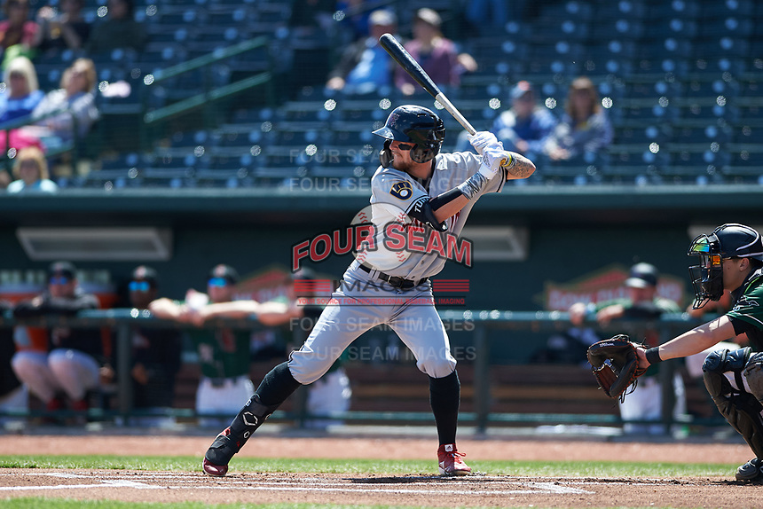 Wisconsin Timber Rattlers Brice Turang (2) at bat during a Midwest League game against the Great Lakes Loons at Dow Diamond on May 4, 2019 in Midland, Michigan. Great Lakes defeated Wisconsin 5-1. (Zachary Lucy/Four Seam Images)
