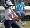 Jill Meaney #10, Smithtown West catcher, cuts at a pitch during a Suffolk League IV varsity softball game against rival Smithtown East at Smithtown High School West on Wednesday, May 2, 2018. She drove in three runs in West's 7-1 win.