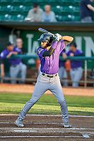 Daniel Montano (2) of the Grand Junction Rockies bats during a game against the Ogden Raptors at Lindquist Field on September 7, 2018 in Ogden, Utah. The Rockies defeated the Raptors 8-5. (Stephen Smith/Four Seam Images)